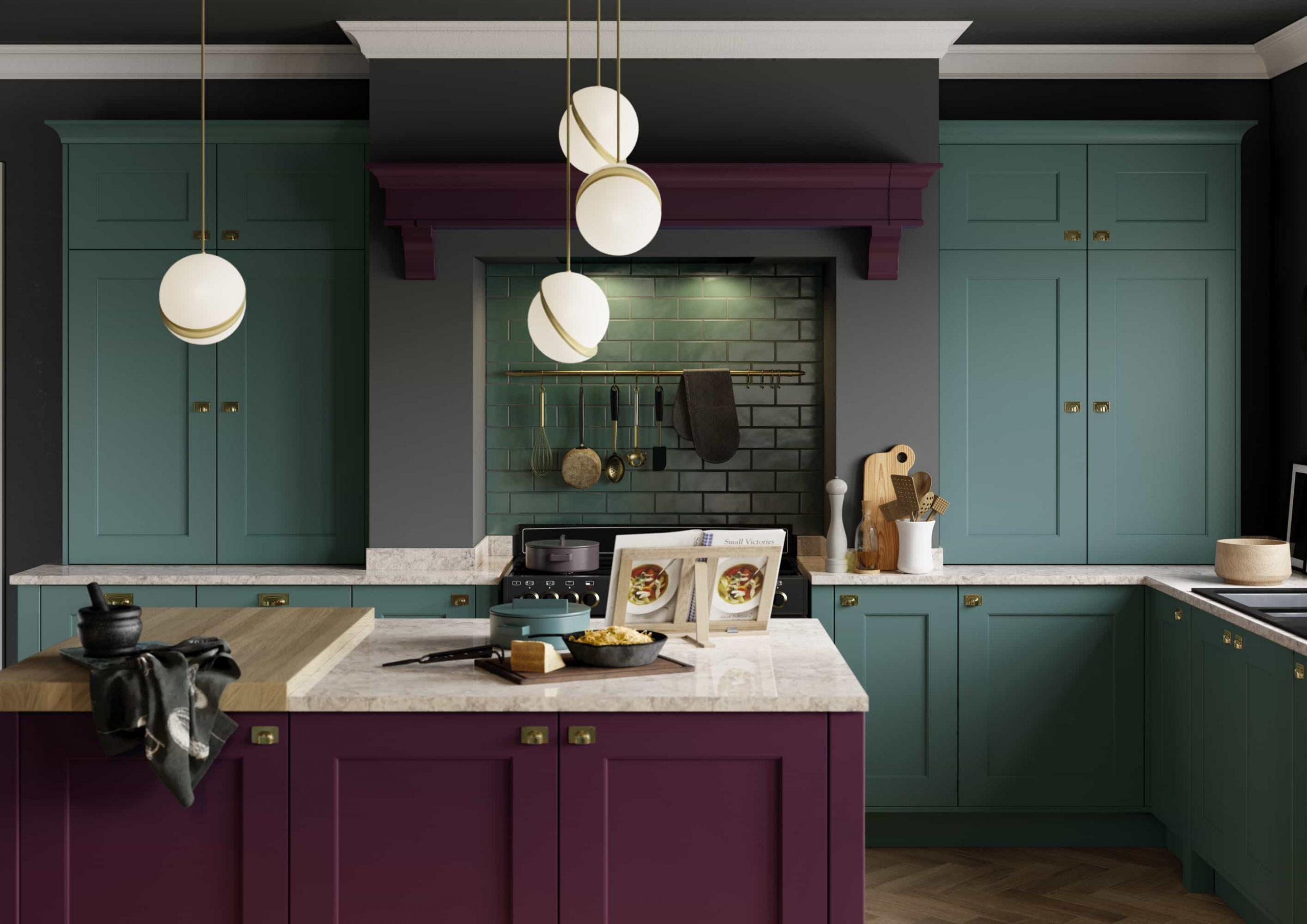 Fairmont Deep heather & Viridian Kitchen - Alex Jane ...