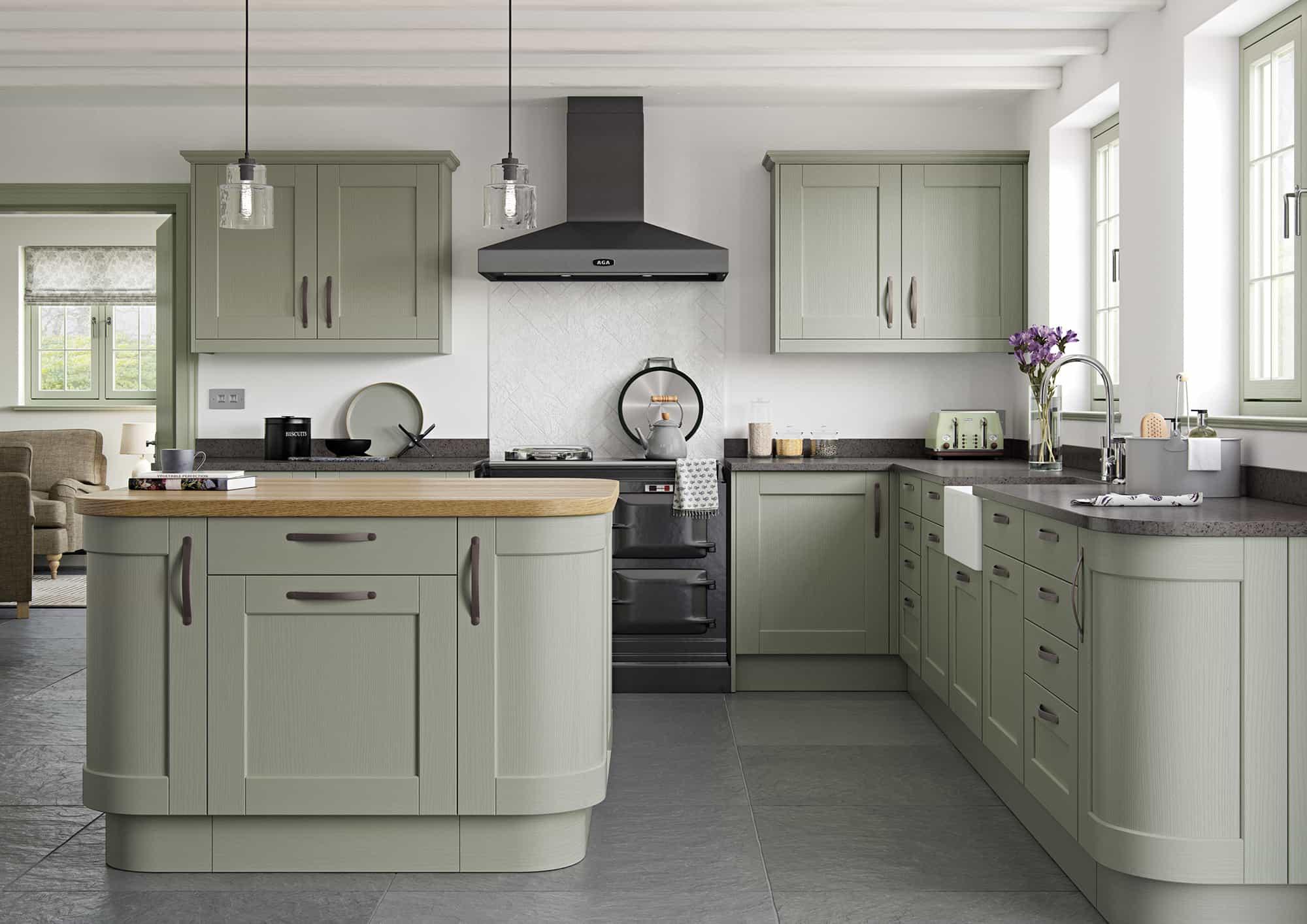 Knightsbridge Sage Green Kitchen - Alex Jane | Kitchens for Kildare, Dublin and Ireland
